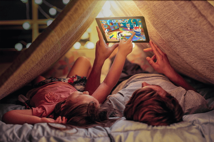 Two kids playing Applaydu on a device